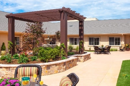 Patio At Senior Living Community In Plano Tx