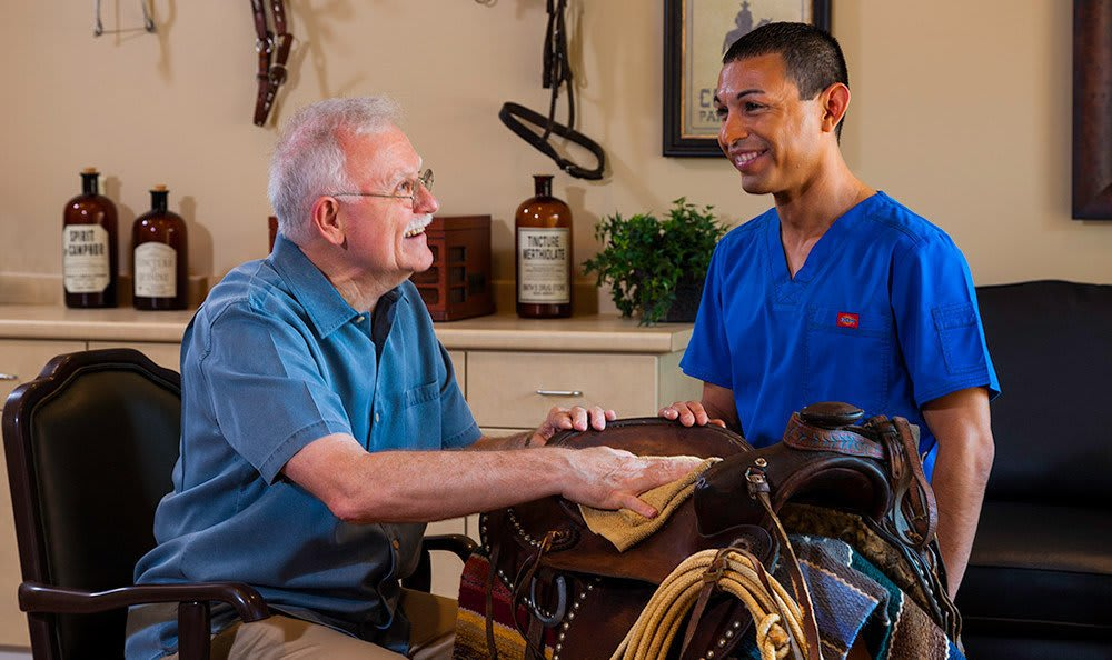 Caregiver And Man Fort Worth Texas Memory Care