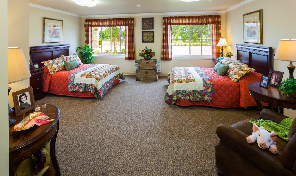 The senior living facility in Vancouver, WA, example bedroom.