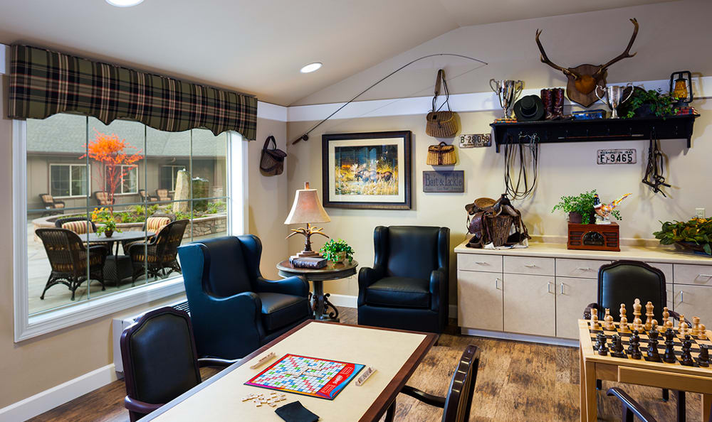 The senior living facility in Vancouver, WA, has a great game room where you or your loved one can socialize.
