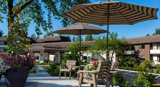 Patio At Senior Living Community In Kirland Wa