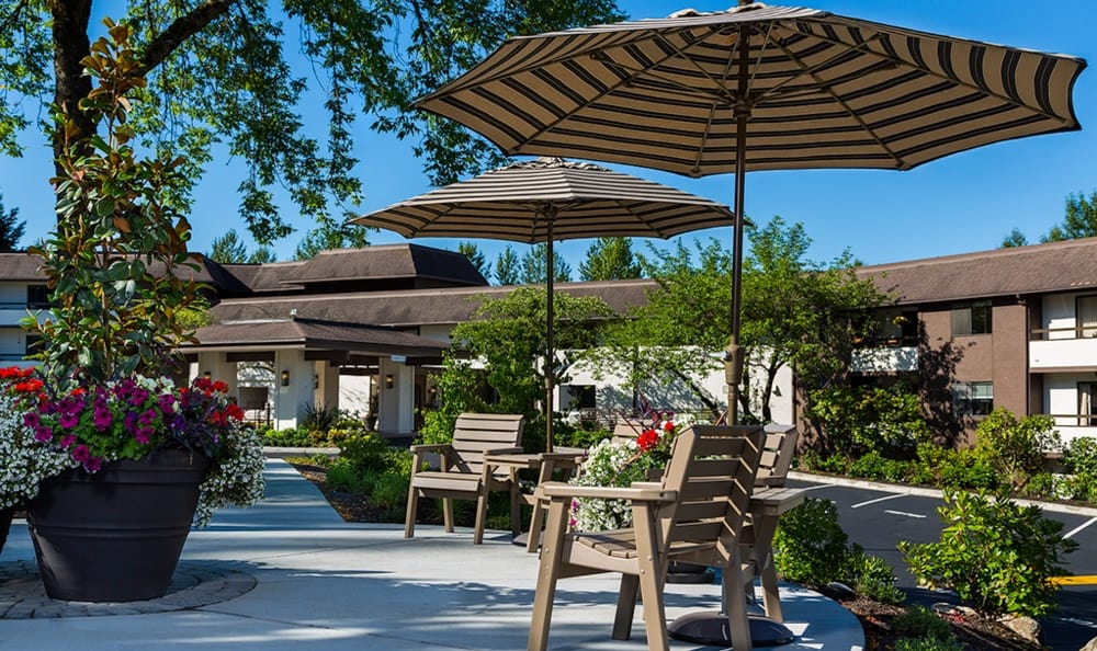 The outdoor patio with seating at Madison House.