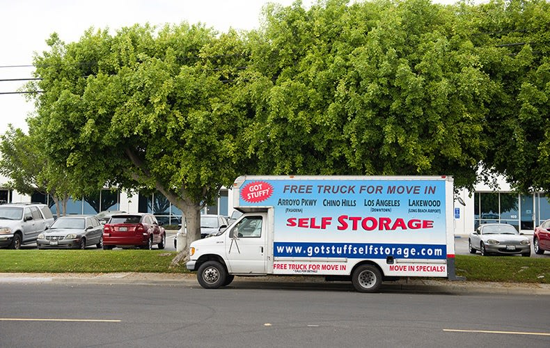 Moving truck at storage facility in Lakewood, CA.