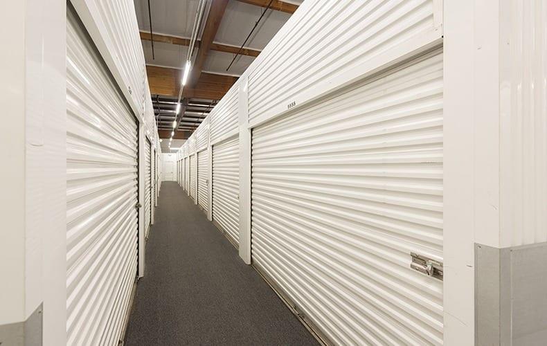 Secure interior units at storage facility in Lakewood, CA.