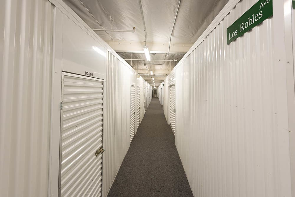 Hallway at self storage facility in Pasadena, CA.