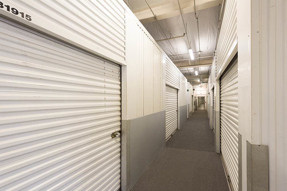 Interior hallway at self storage facility in Pasadena, CA.