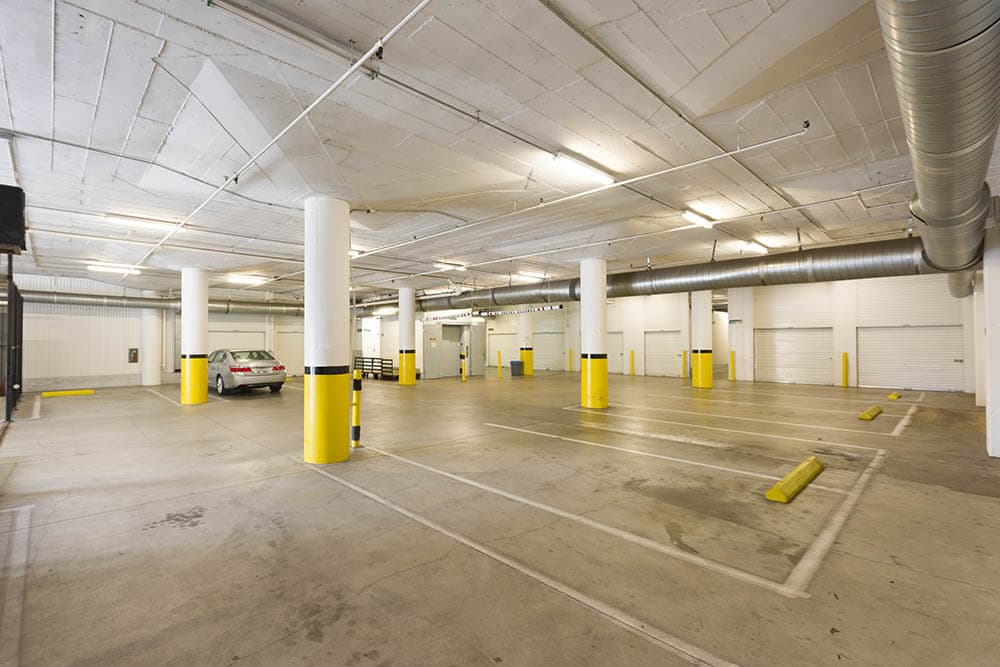 Interior parking at self storage facility in Pasadena, CA.