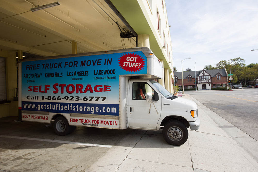 Moving truck at self storage facility in Pasadena, CA.