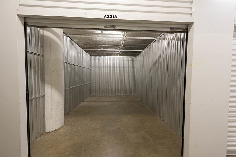 Open interior unit at self storage facility in Pasadena, CA.