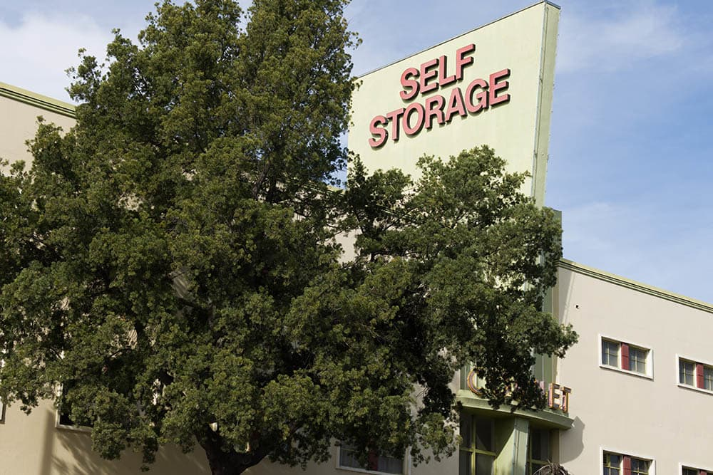 Sign at self storage facility in Pasadena, CA.