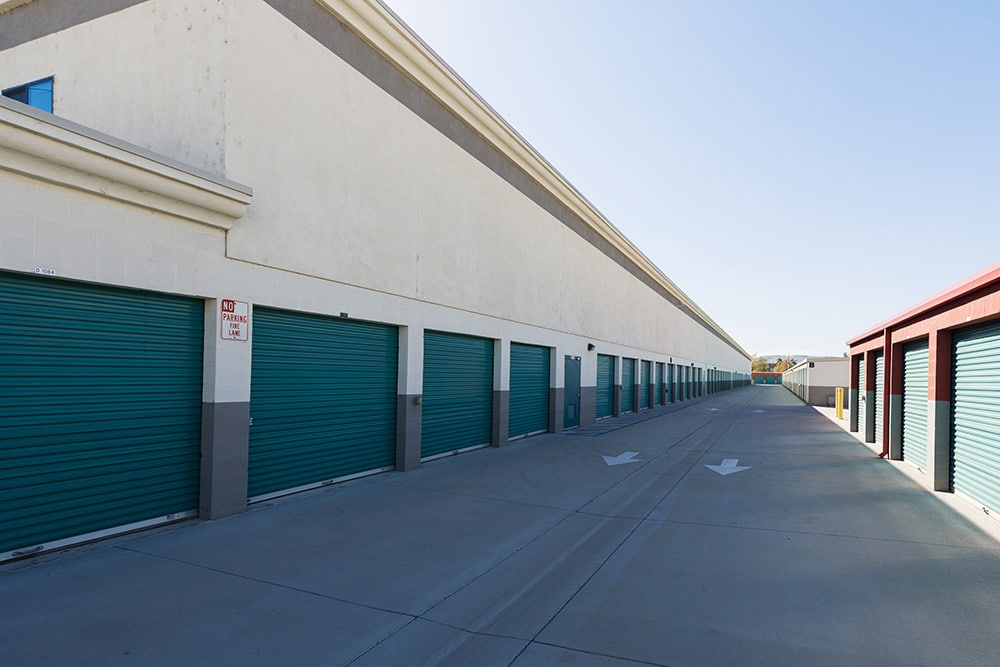 Wide aisles at self storage in Chino Hills, CA.