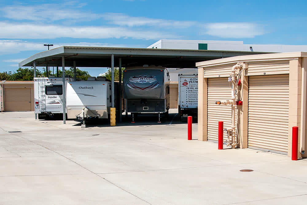 RV storage at storage facility in Elk Grove, CA.