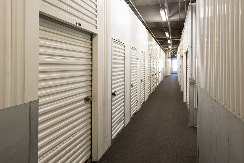Well lit halls at storage facility in Los Angeles, CA