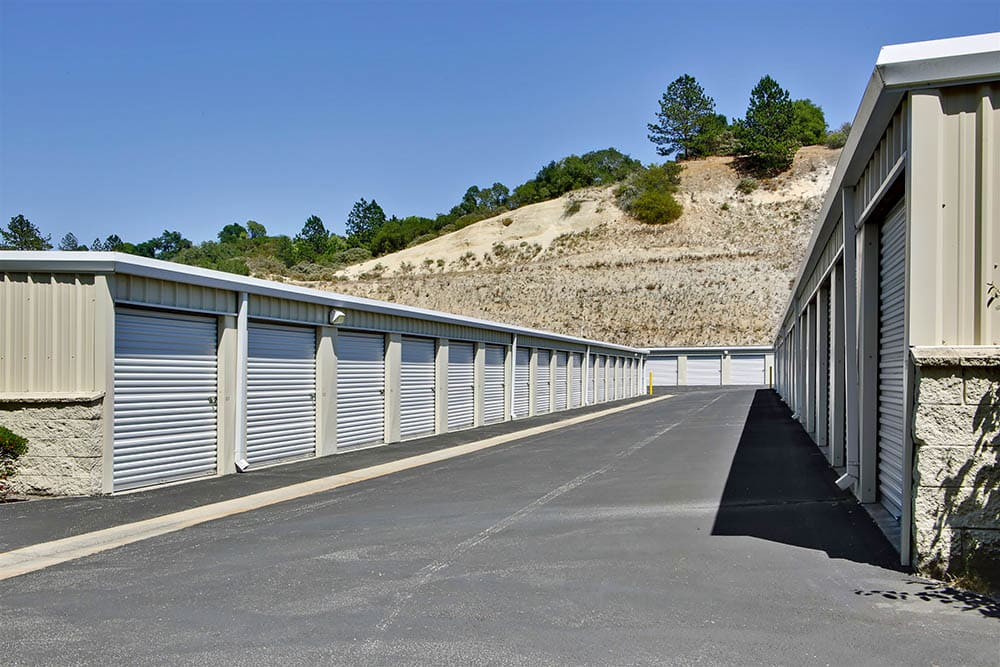 Wide aisles at storage facility in Scotts Valley, CA.