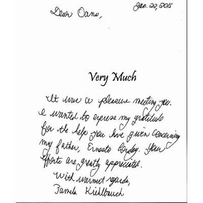 Hand written testimonial for The Terraces at Park Marino