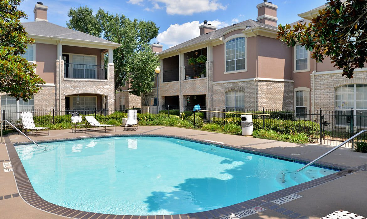 Our sparkling swimming pool area at Bentley Place at Willow Bend beckons on warm days here in Plano, TX.