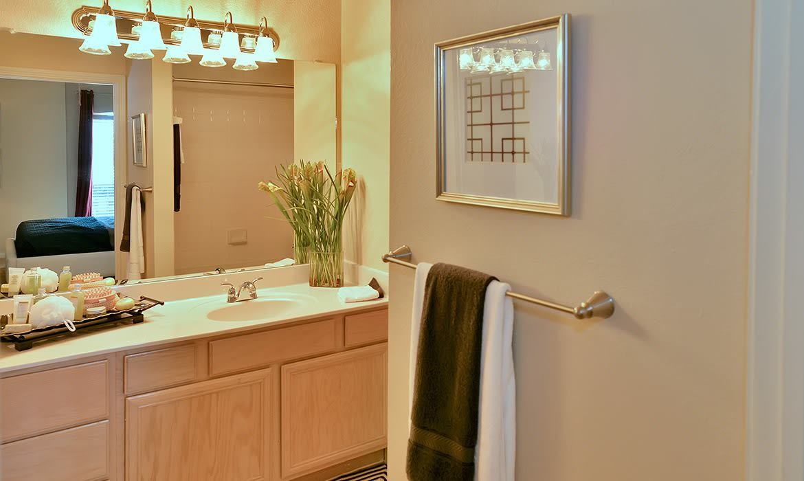 There's plenty of room to get ready for the day in your new bathroom at Bentley Place at Willow Bend.