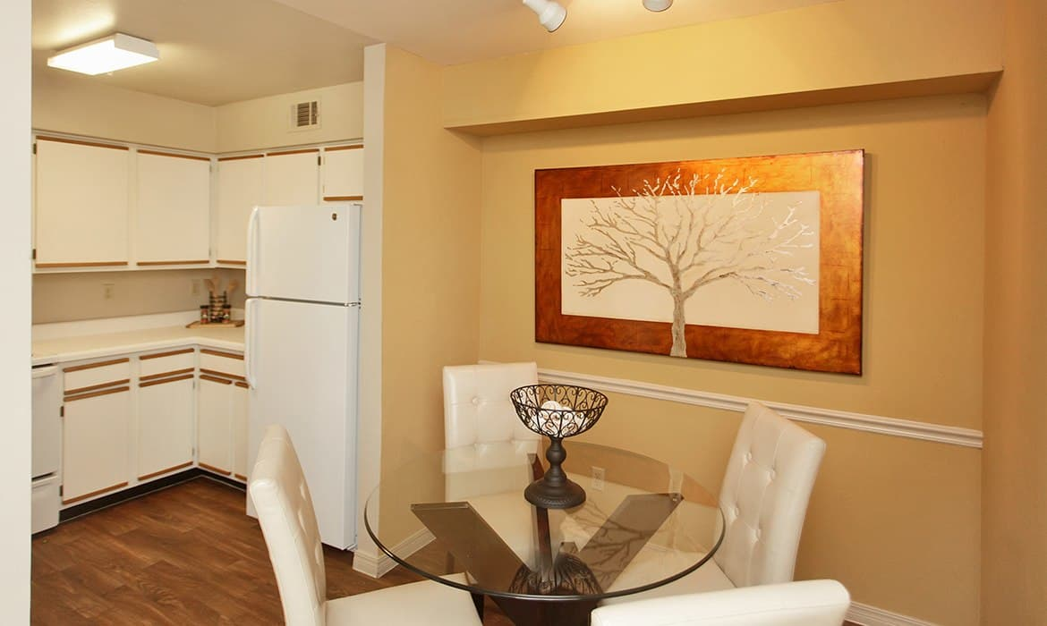 Most of our luxury apartments here at Riverside Park Apartments come with breakfast nooks and more.