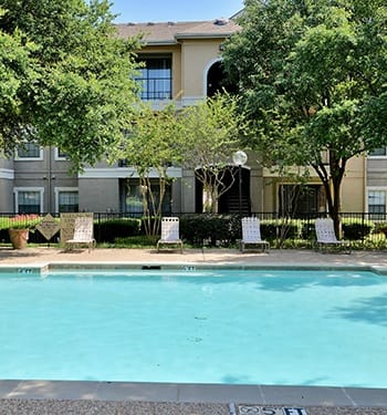 The beautiful swimming pool area is just one of the reasons our residents love Saxony at Chase Oaks.