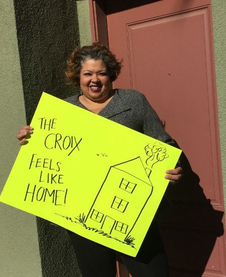 This resident just renewed her lease at The Croix Townhome Apartments in Henderson.
