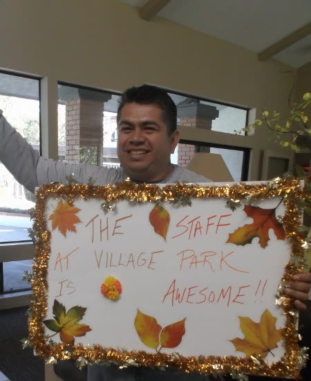 One of our residents showing her love for Village Park Apartments.