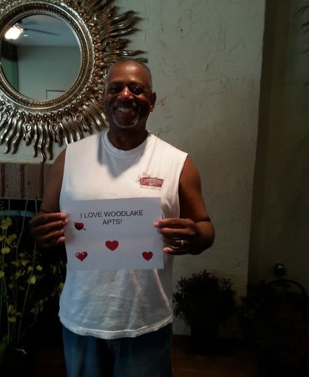 One of our residents showing her love for Woodlake Apartments.