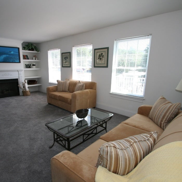 Living room at The Fairways Apartments and Townhomes in Thorndale, PA