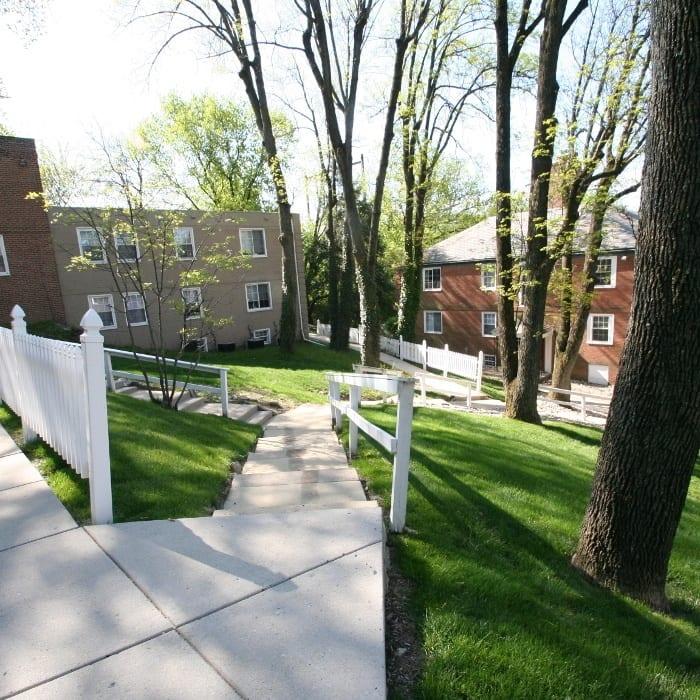 Sidewalk at Melrose Station Apartments in Elkins Park, PA