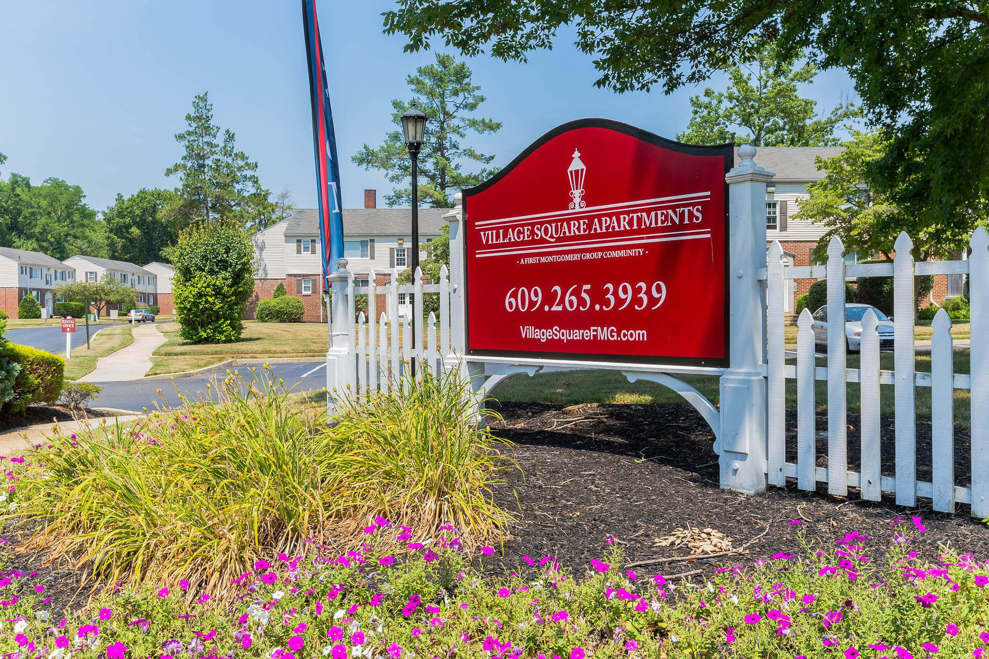 Entrance Sign to Village Square Apartments in Mount Holly, NJ