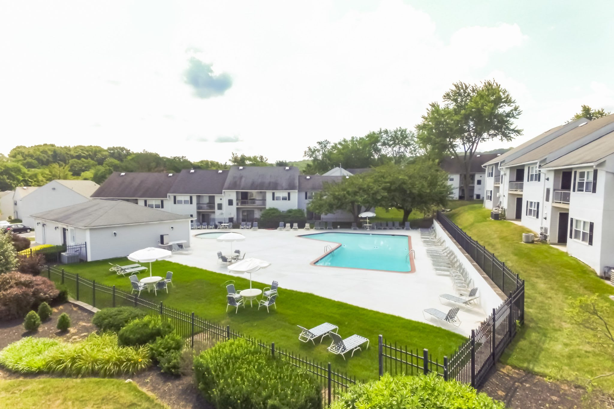 Aerial Pool and Exterior of Westgate Village Apartments  in Malvern, PA
