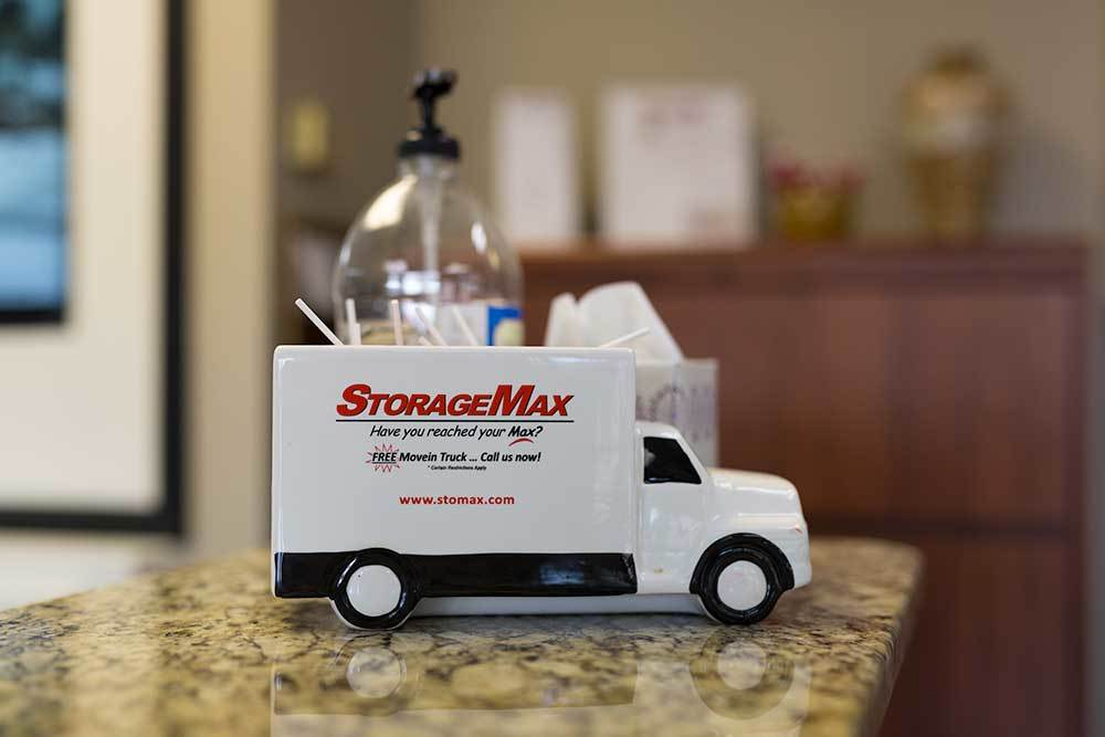 Like our cute little toy truck? We have a real version you can borrow at StorageMax Northtown!