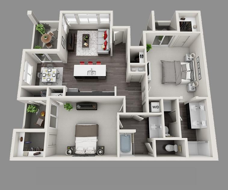 Floor plan rendering of our beautiful apartments in Las Vegas