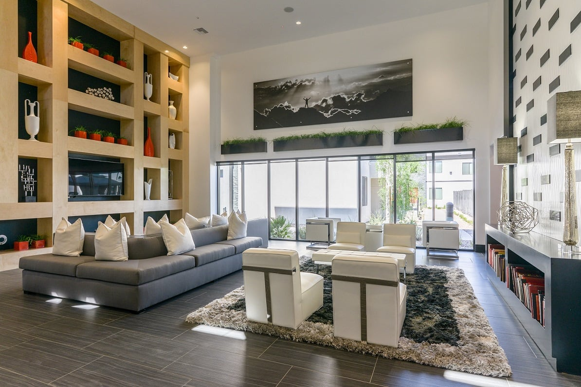 Modern lounge area at EVO Apartments