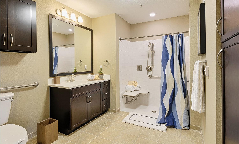 Spacious barrier free bathroomKingston Bay Senior Living in Fresno, California.