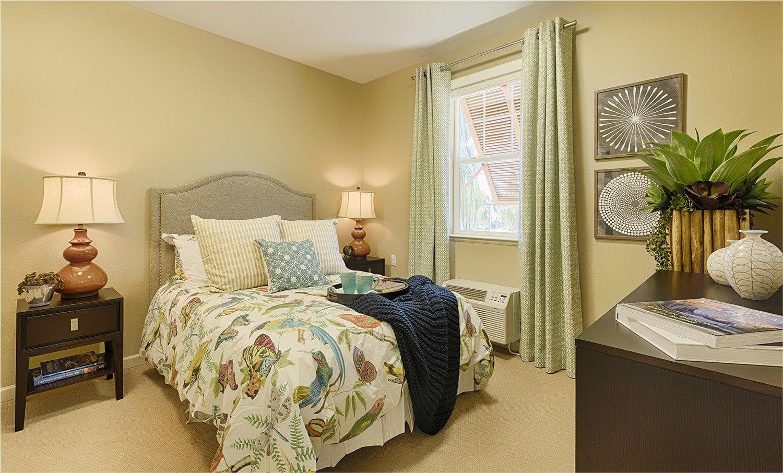 Bedroom at Kingston Bay Senior Living in Fresno, California.
