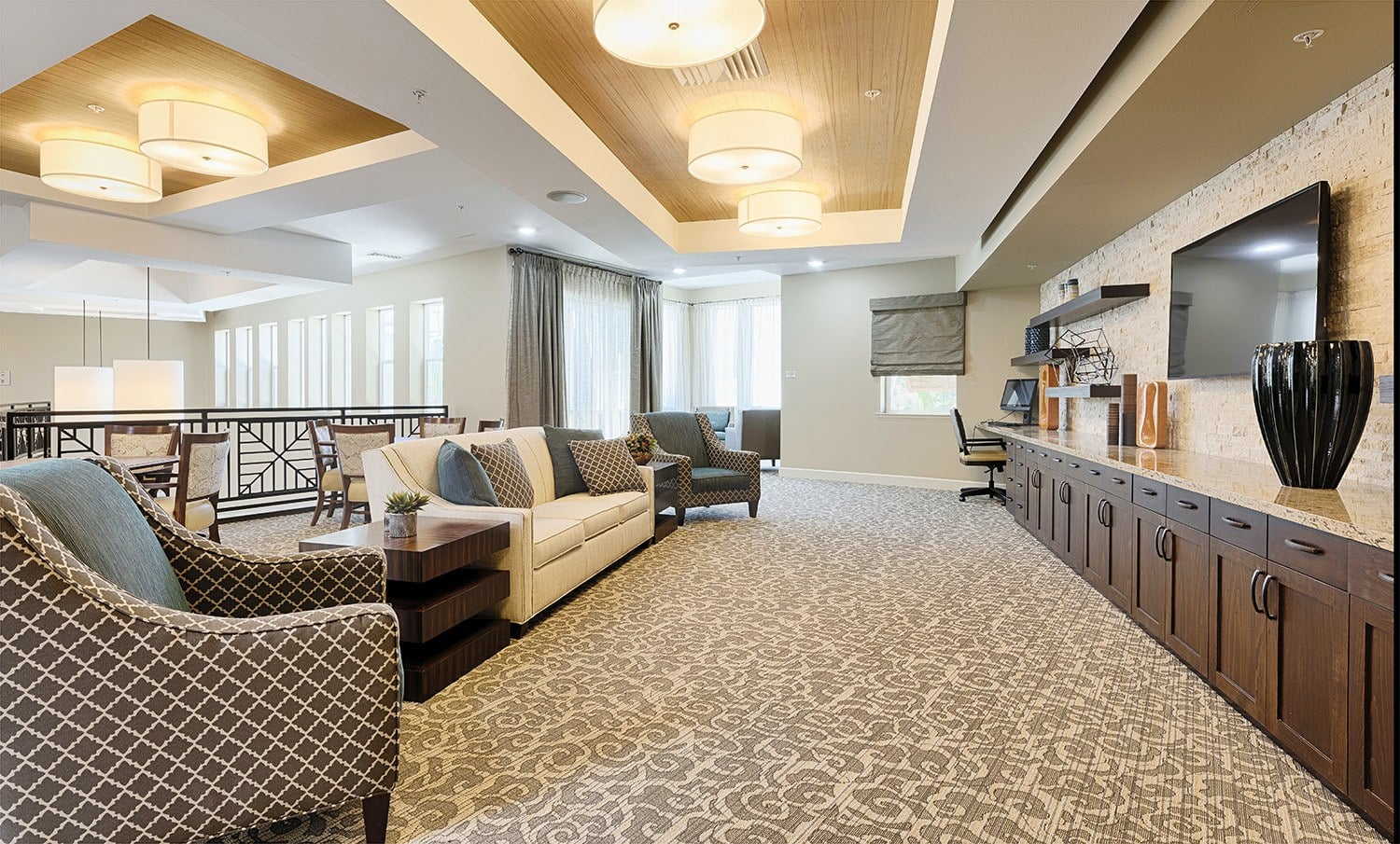 Movie and tv viewing area at Kingston Bay Senior Living in Fresno, California.
