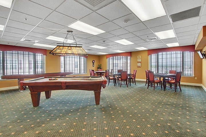 Game Room And Billiards At Our Senior Living Home In Blandon