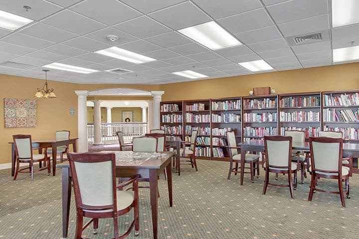 Library At Our Senior Living Home In Blandon