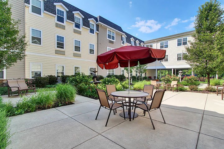 Courtyard Seating At Our Senior Living Home In Douglassville