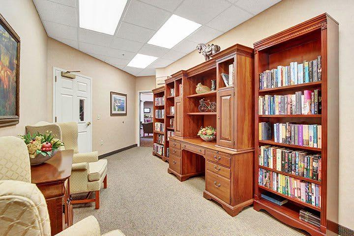Library At Our Senior Living Home In Douglassville