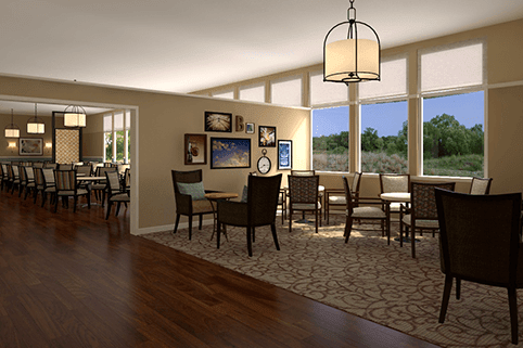 Scenic views can be seen from the dining area at Sagebrook Senior Living at Bellevue.