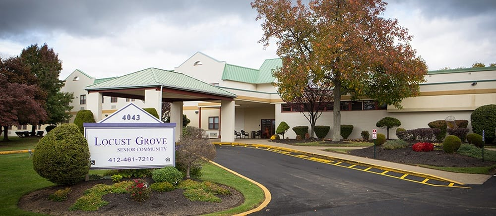 Exterior entrance to senior living in West Mifflin.