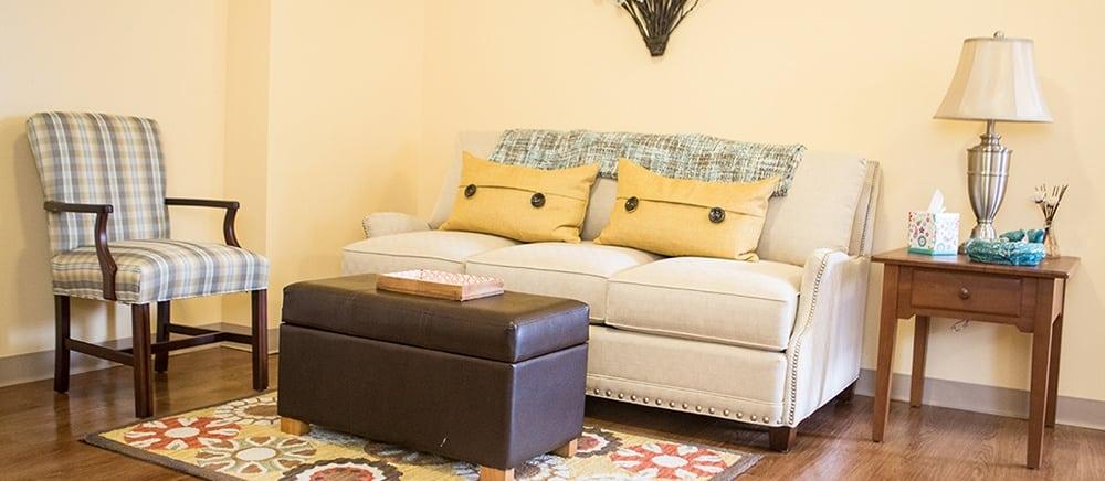Comfortable living room in West Mifflin senior living.