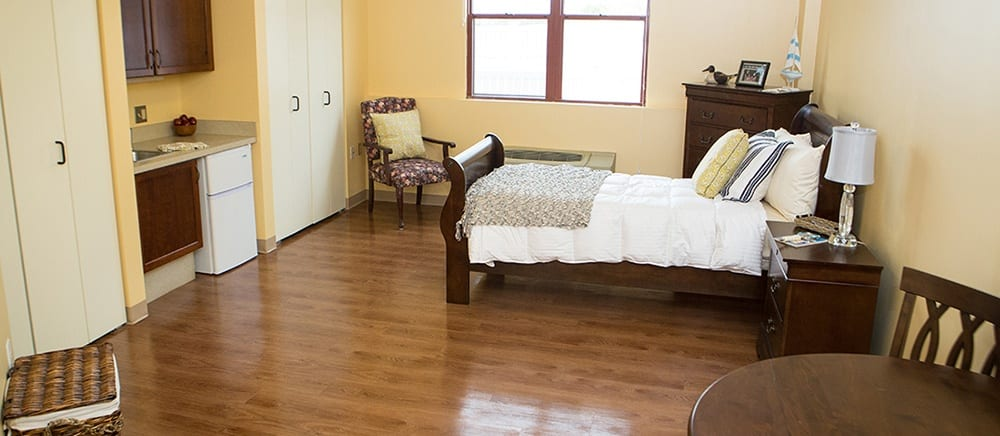 Senior living in West Mifflin includes spacious bedrooms.