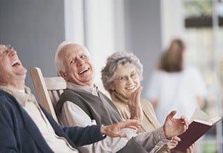 Happy friends enjoying the sunshine at the senior living in Salt Lake City