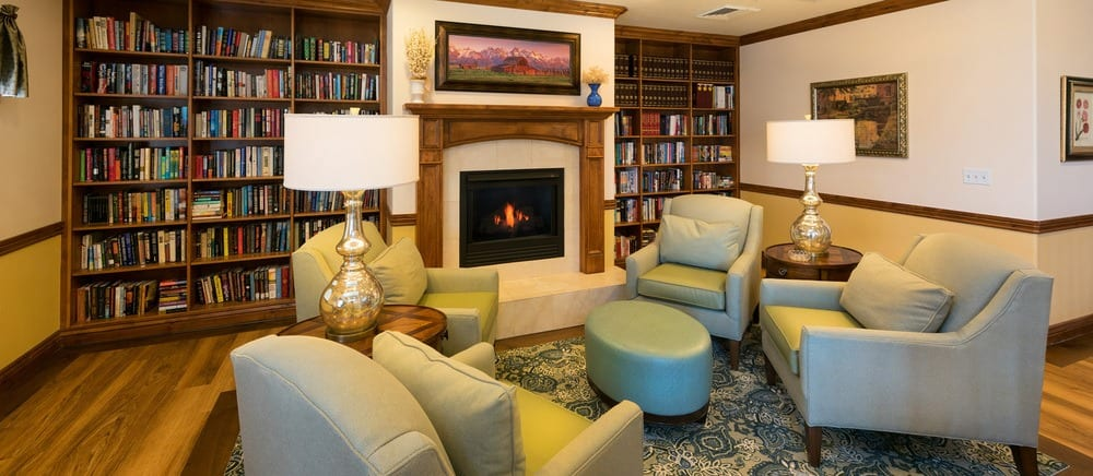 Salt Lake City senior living includes a library.