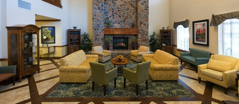 Large fireplace lounge at senior living in Salt Lake City.