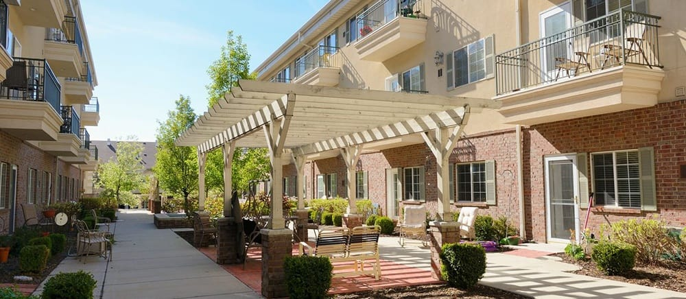 Senior living in Salt Lake City includes a courtyard.