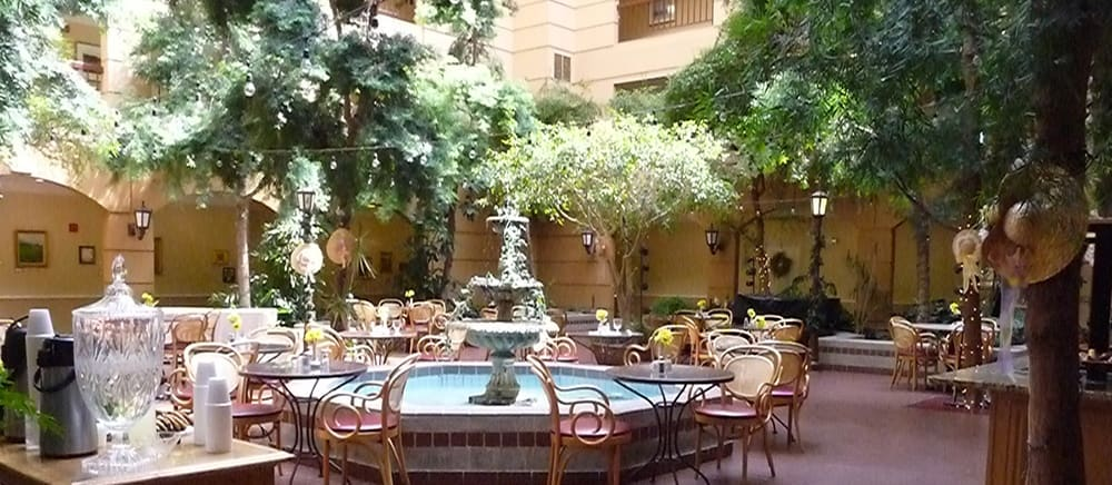 Elegant courtyard in Salt Lake City senior living.