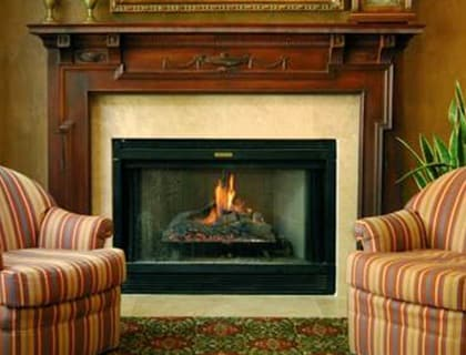 Senior living in Salt Lake City includes a fireplace lounge.